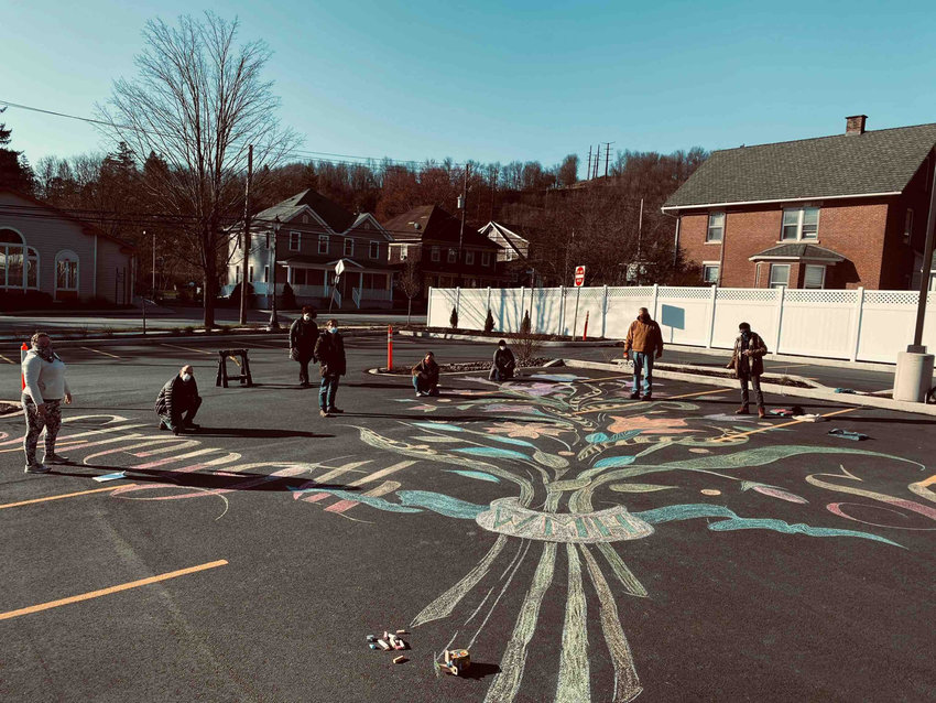 Local artists created a giant chalk drawing outside of Wayne Memorial Hospital in Honesdale, PA.