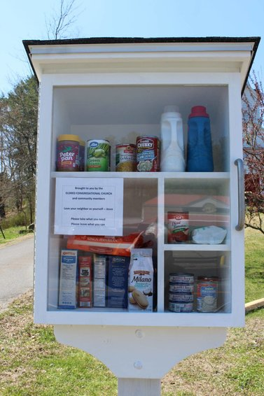 The mini-food pantry outside of the Eldred Congregational Church is open for business. Community members are invited to take what they need, and leave what they can.