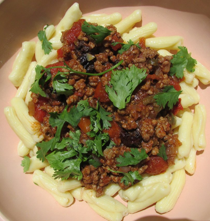 Picadillo on cavatelli pasta