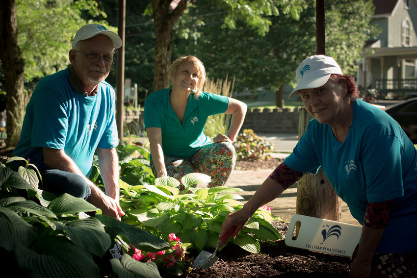 Volunteer Corps Members Frank Ulbrichm, left, Maggie Tuttle Schutte and Yolanda Suida at Lapolt Park in Liberty.