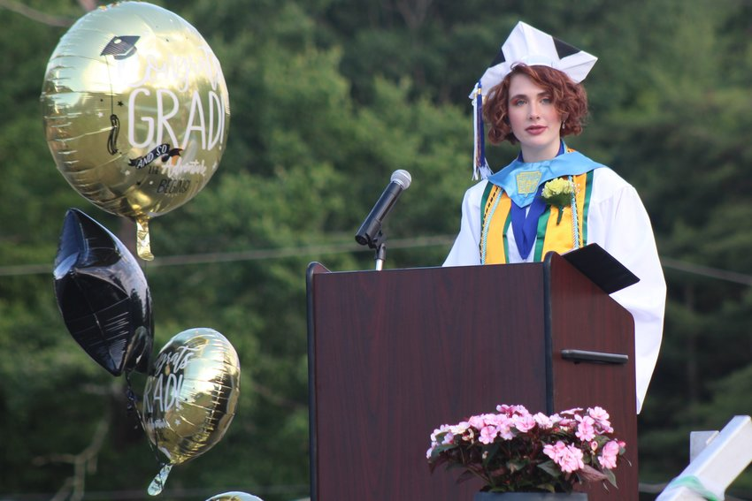 Valedictorian Brenna Knibbs began her address with an event that occurred during Kindergarten and spoke of the accomplishments of those in her class.