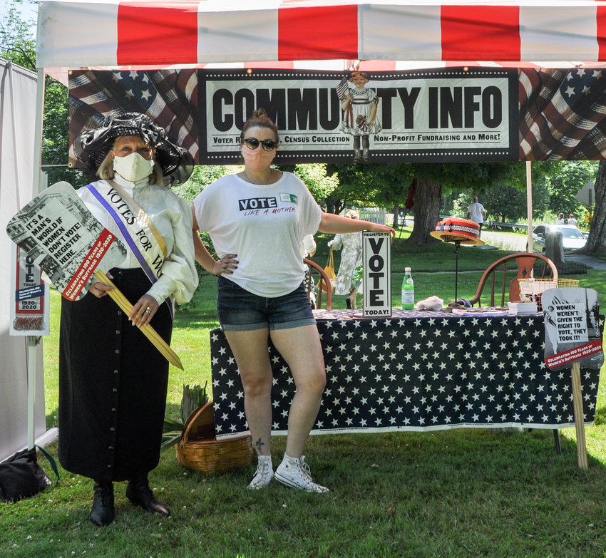 Seen here at the Barryville Farmers' Market last Saturday are Debra Conway, left, and Amber Tamblyn.