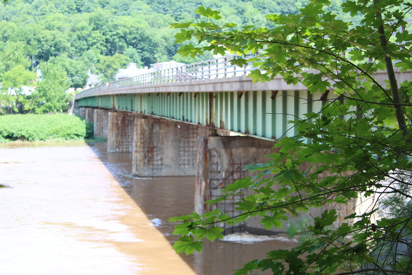 The bridge between Callicoon, NY and Damascus Township, PA shows the wear of the river.