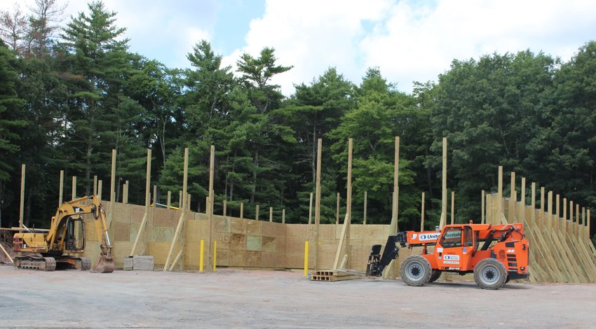 Work is progressing on schedule for the Town of Highland's new salt shed. Completion date is in mid-October, in time to store road supplies for the upcoming winter.