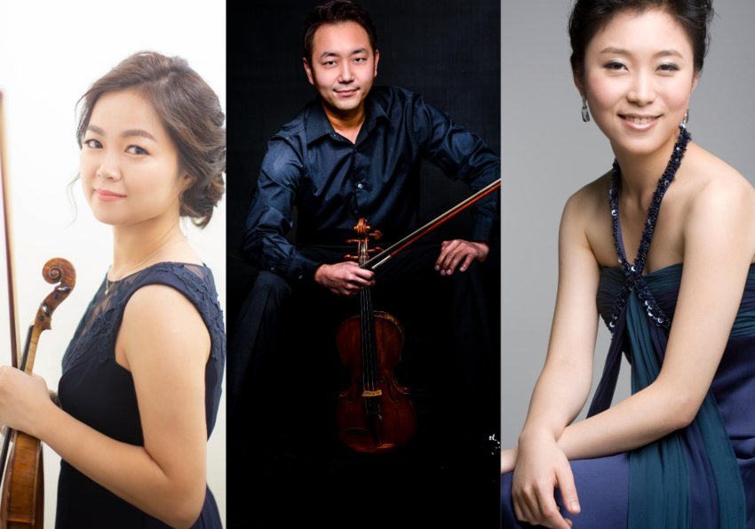 Violinists Jisun Kang, left, and Khullip Jeung will perform with pianist Min Young Kang on Sunday, August 23 on Facebook Live for the Shandelee Music Festival.