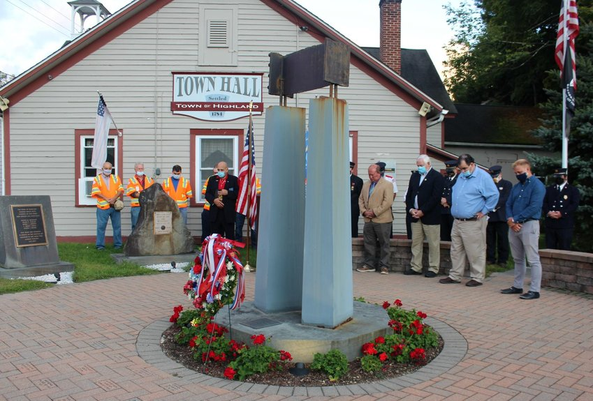 A remnant of steel from Ground Zero sits atop a monument at Heroes Park in Eldred, which was the site of the town's annual 9/11 ceremony. The ceremony remembers and honors the first casualties in the War on Terror.