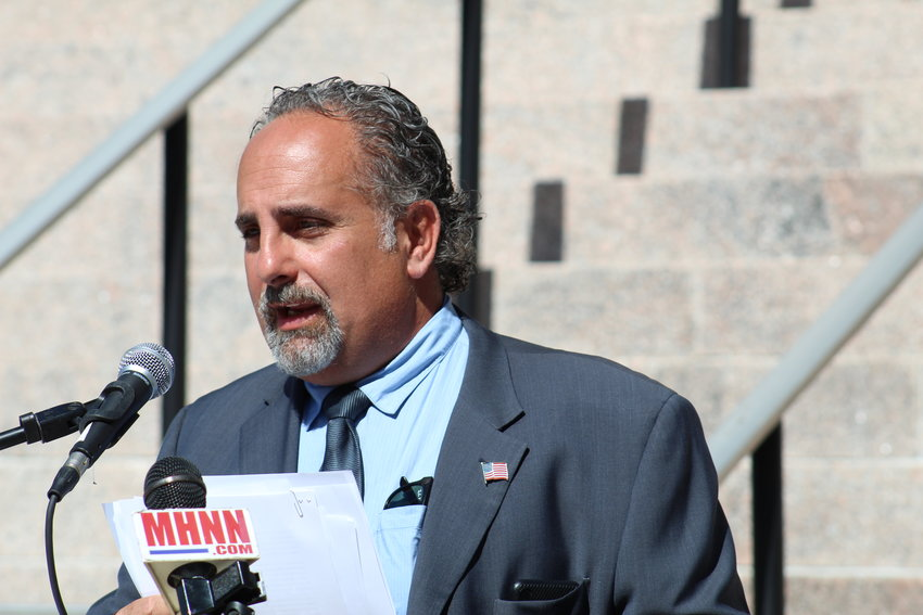 Sullivan County Democratic Committee chairman Steven Vegliante speaks at last Tuesday's press conference in front the Lawrence H. Cooke Sullivan County Courthouse in Monticello, NY.