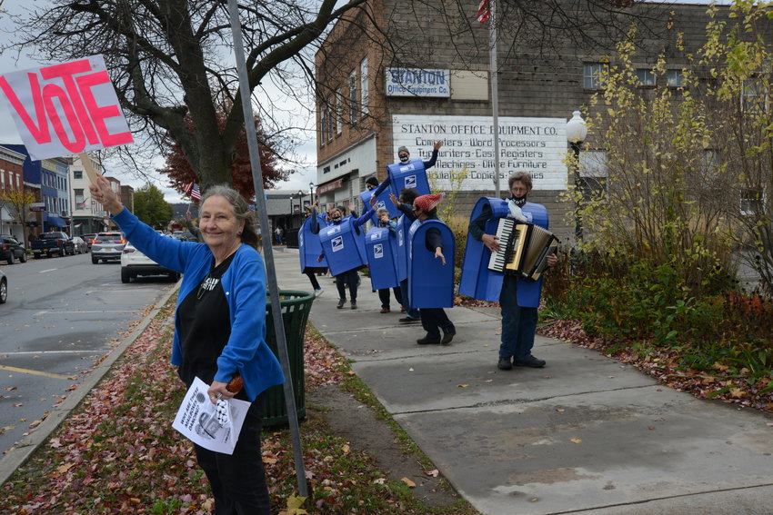 The dancing mailboxes made their way from Honesdale to Hawley to spread the word about voting this election.
