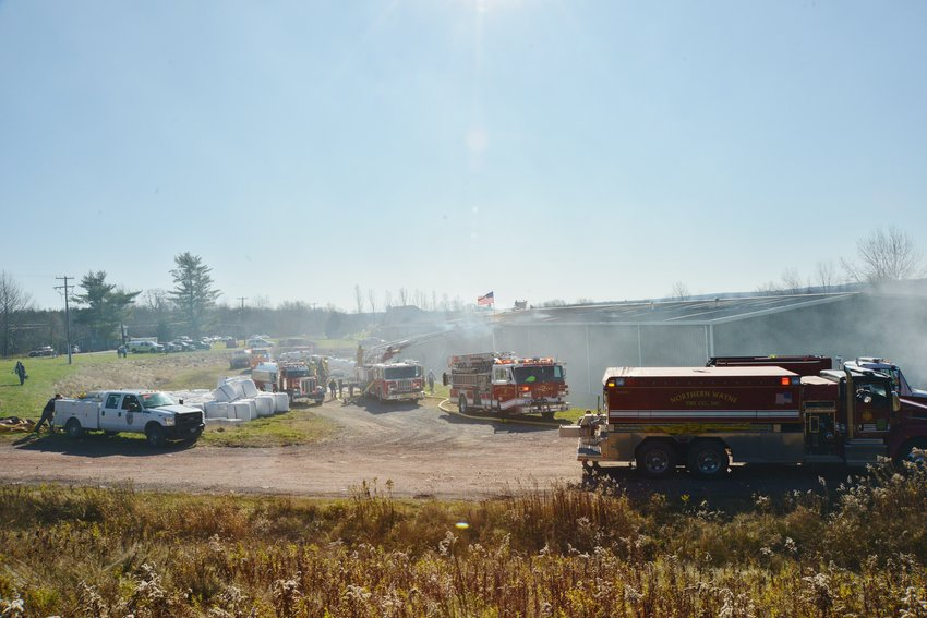 Numerous firetrucks responded to the fire at a hemp processing facility in northern Wayne County.