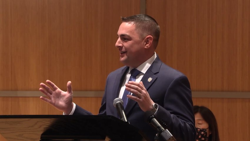 Senator Mike Martucci offers a message at his January 17 swearing-in ceremony.