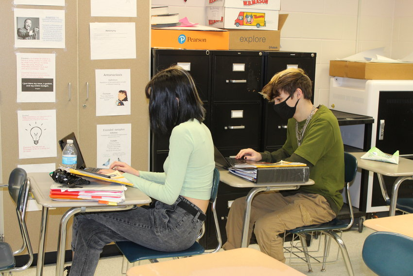 Photo: Tneth-grade students Justinn Brockway, left, and Adam Frey put Chromebooks to good use at Delaware Valley High.