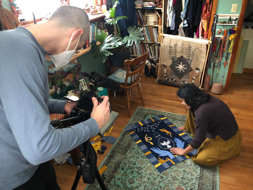 "Filmmaker Oriel Danielson shoots a video of textile artist Christi Johnson for DVAA's ""Salon Series 