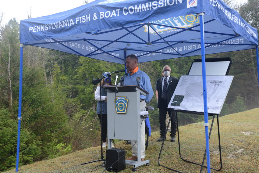 PA Fish & Boat Commission Executive Director Tim Schaffer announces the upcoming dam project, joined by PA Sen. Lisa Baker, left, Wayne County Commissioner Brian Smith and Rep. Jonathan Fritz, not pictured.