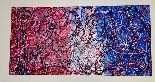 """Part of a series Faith Santoro is doing called """"Red White and Blue."""" This painting is on an eco-friendly canvas."""