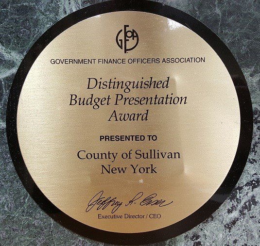 The Sullivan County Manager's Office and Budget Office have earned the Distinguished Budget Presentation Award six times in a row.