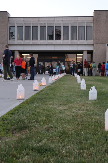 Luminaries to honor the 77 Sullivan County residents who lost their lives due to COVID-19 line the walkway of Sullivan County Government Center on Wednesday evening, June 23.