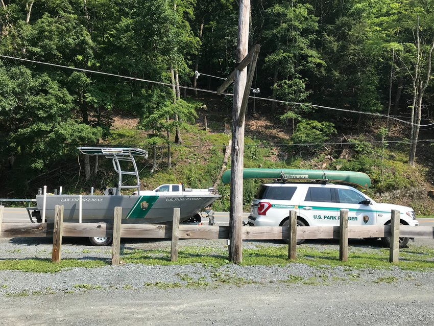 The National Park Service at the Cedar Rapids Campground for the recovery of the Peekskill victim's body.