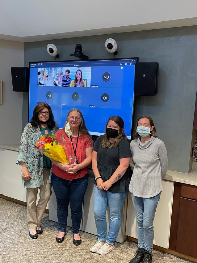 Pictured are director of Health Services Karen Kerendian, left, registered nurse Trudy Unger, house manager Amberley O'Brien and assistant director of Health Services Leslie Irwin.