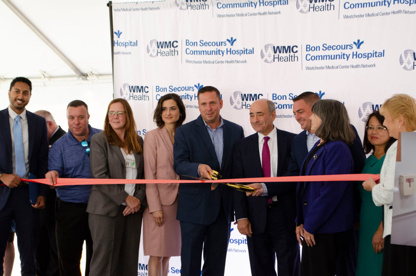 Representatives from Bon Secours Community Hospital, Westchester Medical Center Health Network and local and state governments cutting the ribbon on phase three of Bon Secours' $40 million modernization project.
