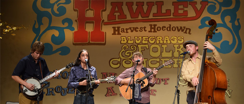 Musicians grace the stage at a prior Hawley Harvest Hoedown.