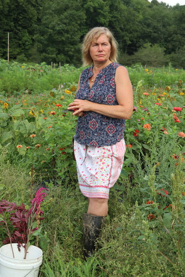Tannis Kowalchuk in her field of flowers at Willow Wisp Farm