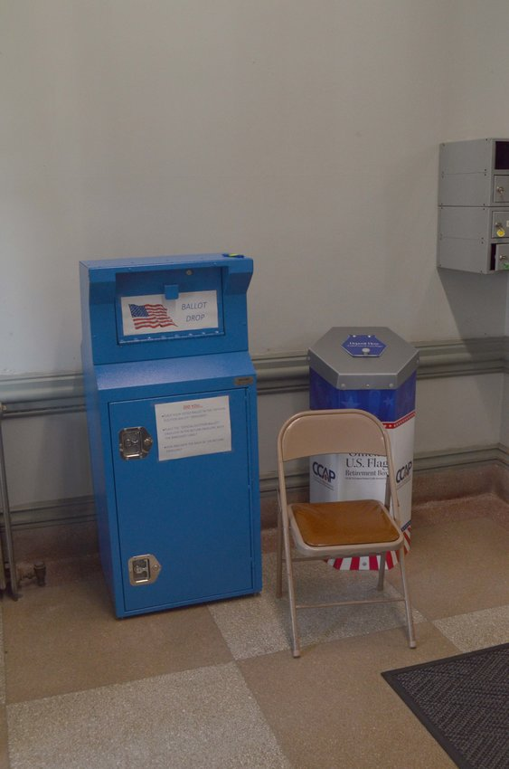 The drop box for Wayne County's elections, stationed inside the doors of the Wayne County Courthouse.