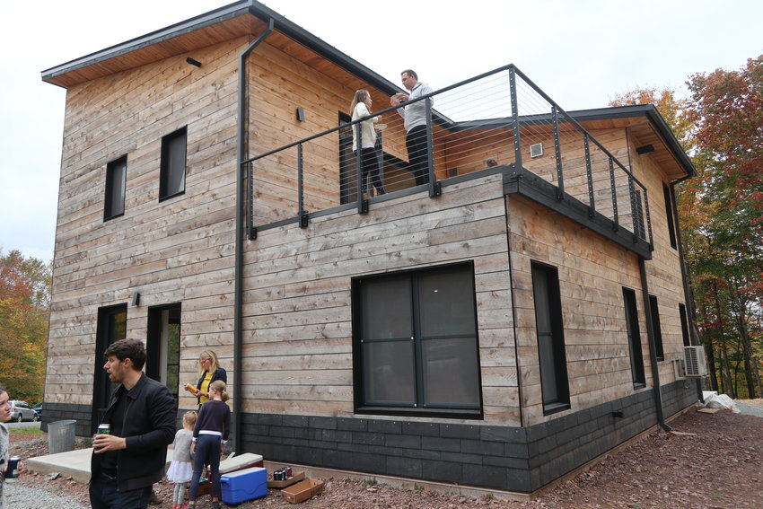 This Catskill Project model home was open to inspection on October 8. The 2283 square foot house is built to Passive House standards that includes a continuous building envelope, superinsultation, a robust ventilation system, and high-tech windows. It is part of a 90-acre subdivion that will preserve 40 acres as a nature preserve.
