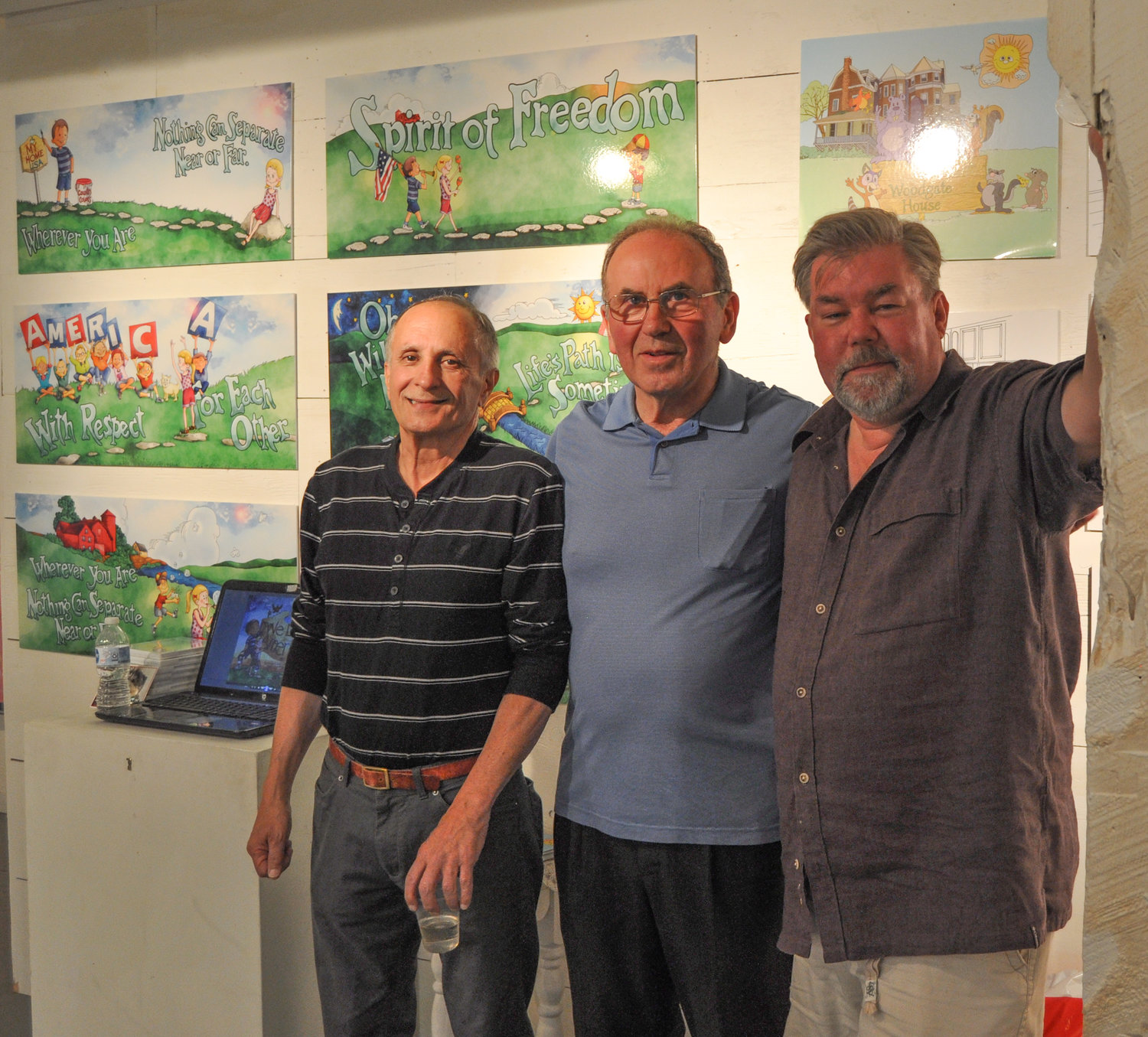 "Poet Tony Gianti, left, graphic artist George Eckhardt and illustrator Geoffrey Hutchinson have teamed up to create the children's book and CD, ""The Woodgate House."""
