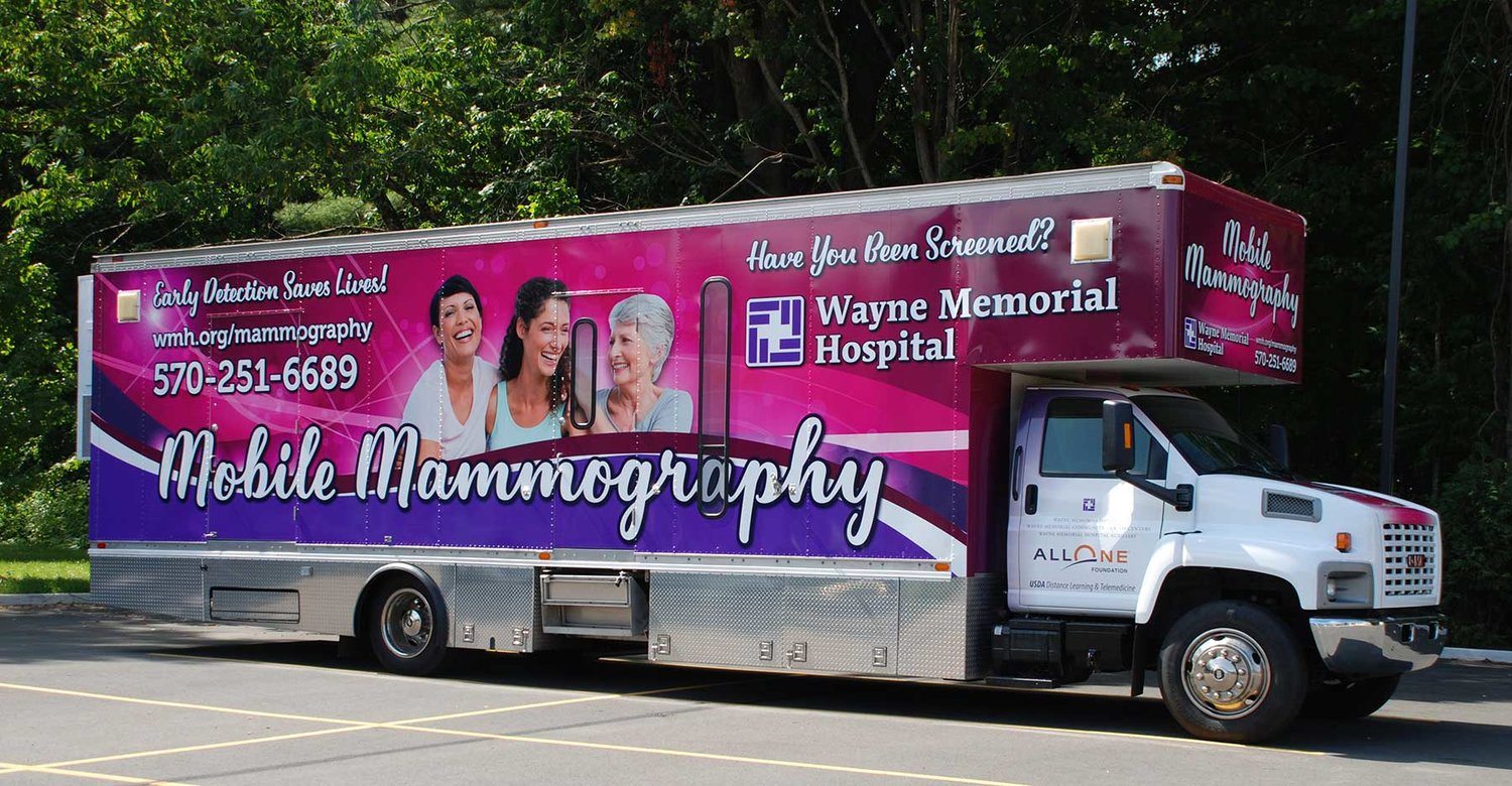 A mobile mammography unit is one approach WMHS has used to meet the challenge of serving a dispersed rural population with no public transportation.