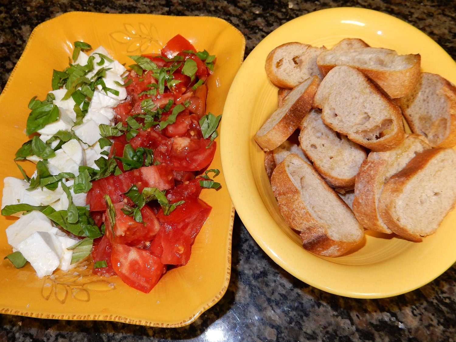 Tomatoes and fresh mozzarella (caprese) salad with basil and crisp crostini slices