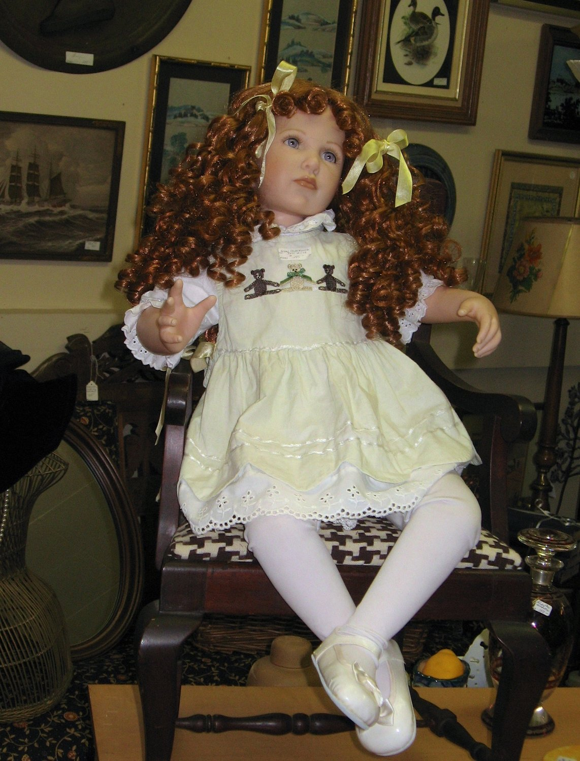 A child-sized, collector's Blackwood Doll, with long brown ringlets and gorgeous eyes, stole the author's heart at Town and Country Antiques in Liberty.