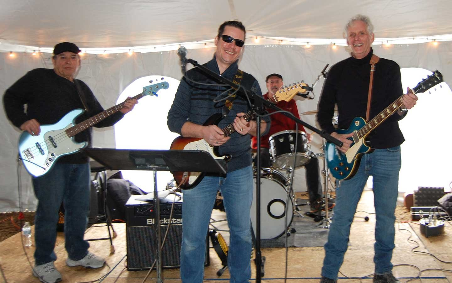 Peter Florence, right, and Albi Beluli, center, entertained with The New Kings during the Trout Town WinterFest in Roscoe, NY over the weekend.