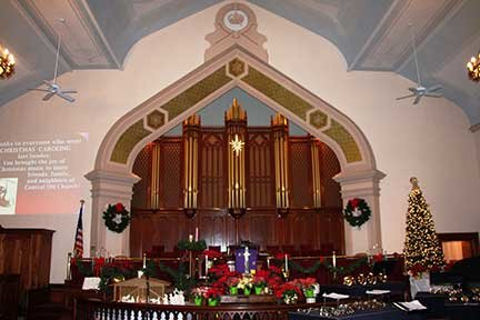 The CUMC sanctuary is seen bedecked with its 2016 holiday decorations.