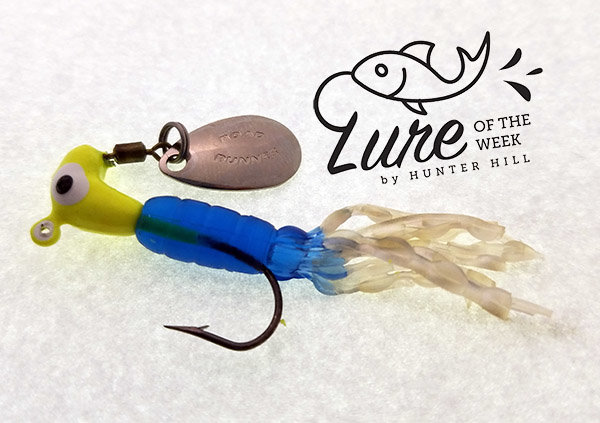 Here the eighth ounce jig sports a different style soft plastic tail and color scheme. note the opposite placement of the blade and tie-on.