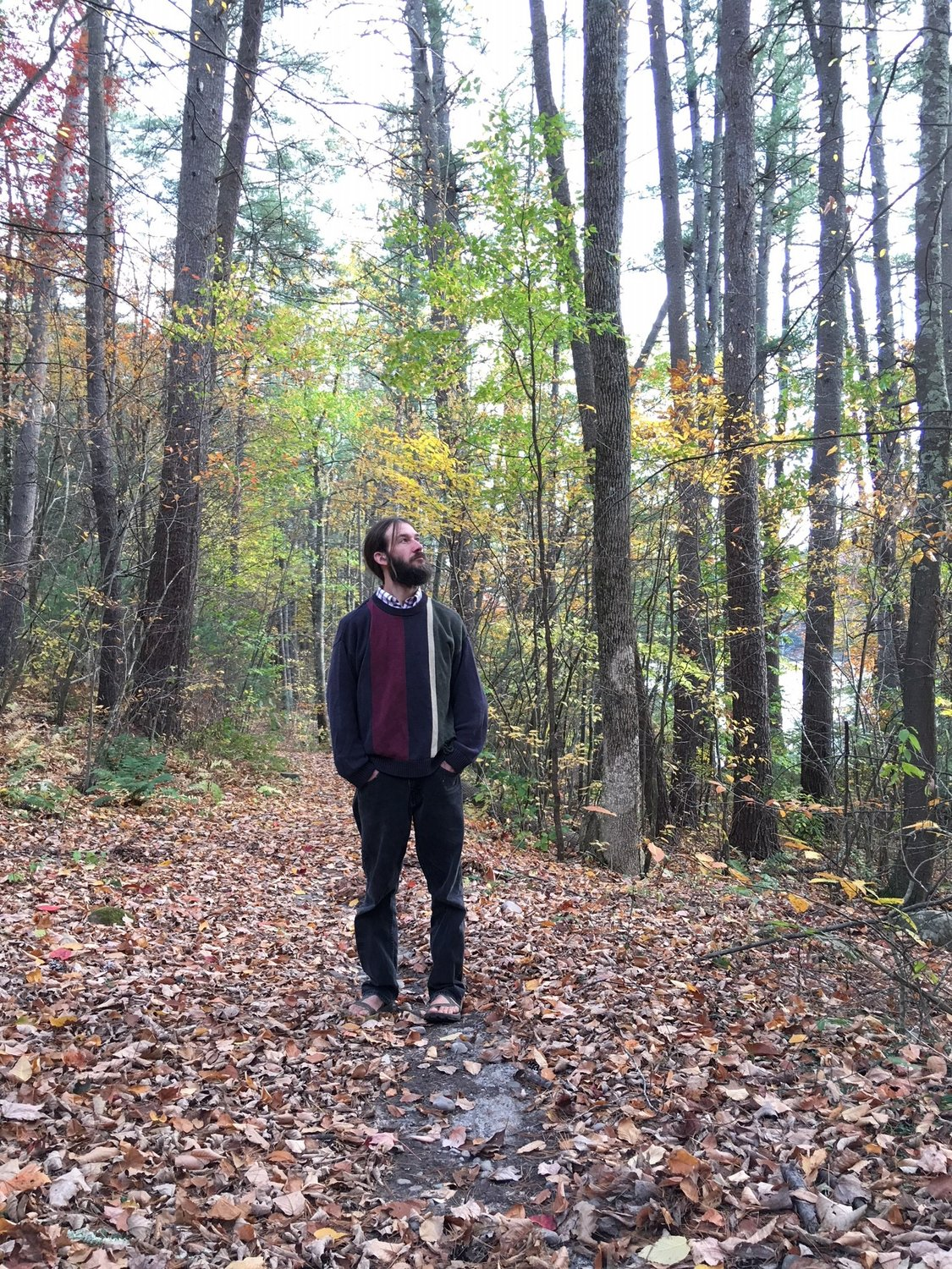 "Co-author Nathaniel Whitmore is seen ""bathing"" in the forest around Mongaup Falls Reservoir. Shinrin-yoku is especially aromatic in the autumn."