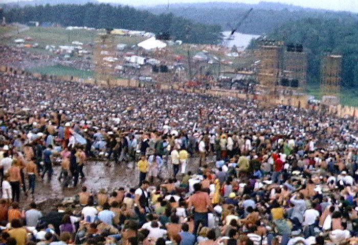 The crowd at the 1969 Woodstock Music and Arts Fair.