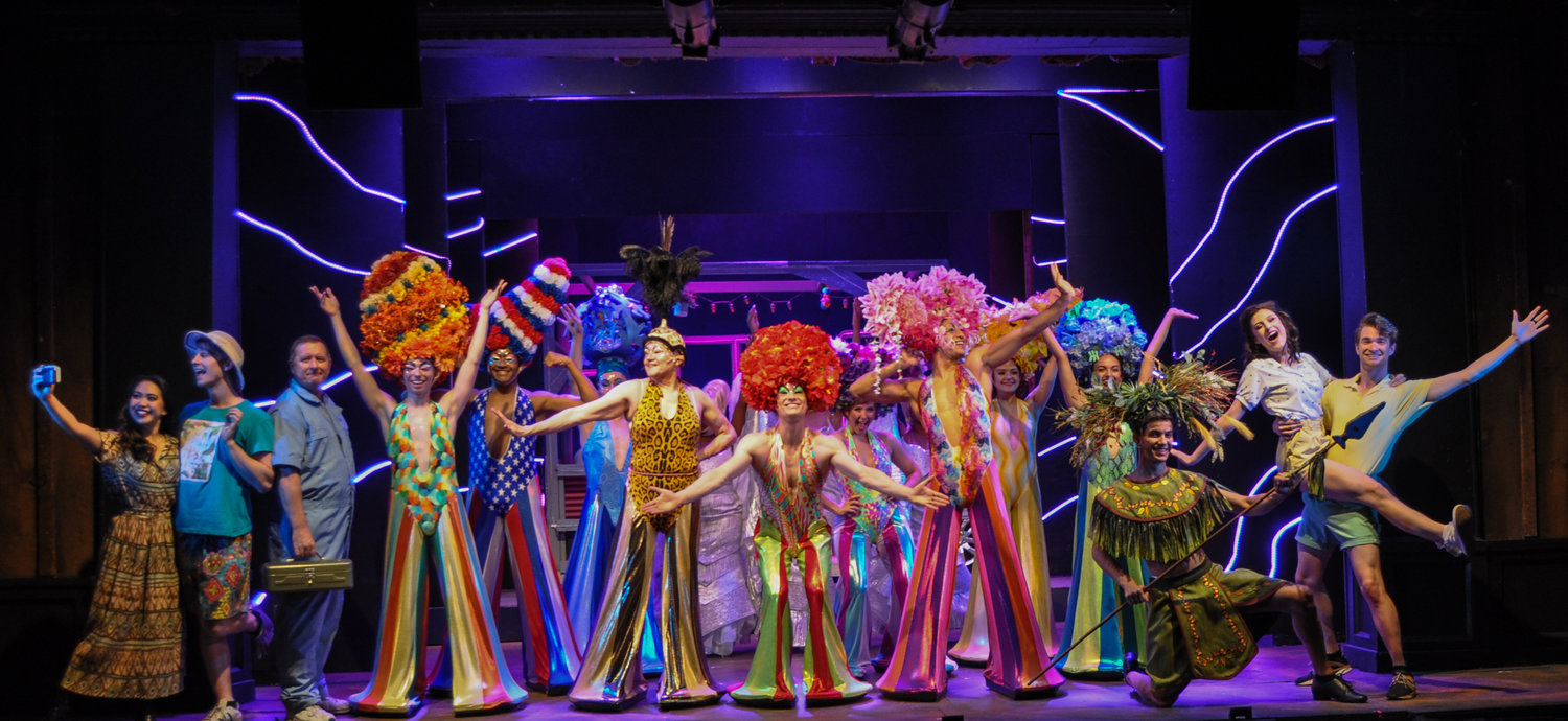 "Drag queens galore, wildly imaginative costumes and more than 30 instantly recognizable songs collide through this weekend in the Forestburgh Playhouse production ""Priscilla, Queen of the Desert."""