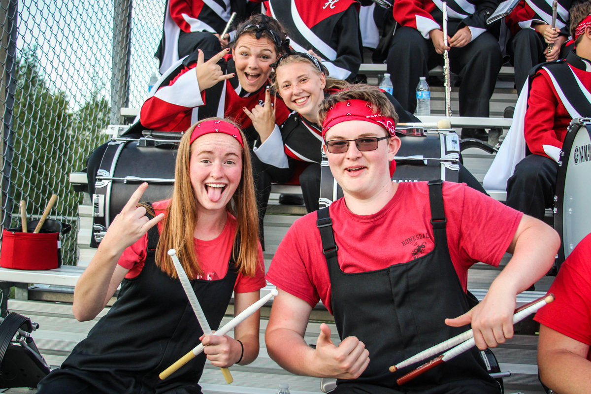 Percussion kids always strike a pose for the camera