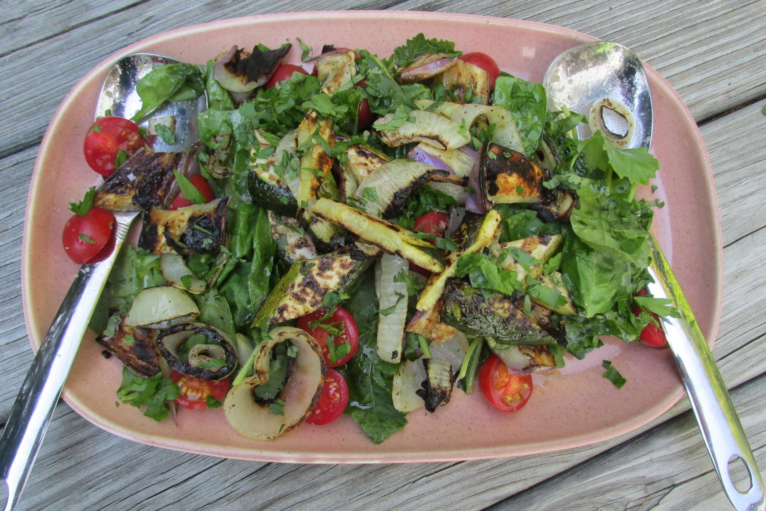 grilled vegetables on wilted 