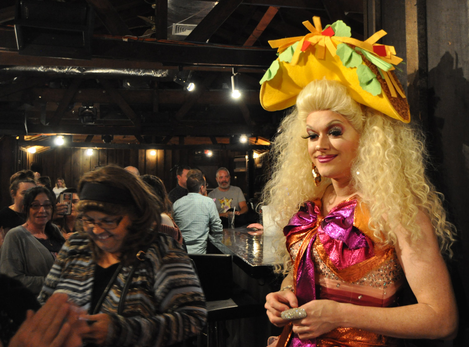 Larger-than-life drag performer Paige Turner held the audience in the palm of her man-sized hands last weekend at the Forestburgh Tavern. I don't remember why she had a giant taco on her head.