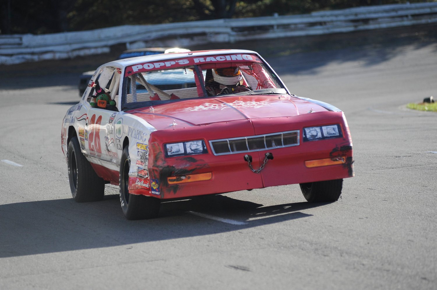 Woman at speed. Patty Pop Falkena of Waldon, NY is one of the few women racers at BMS. She competes in street-stock car #28 and placed seventh in the feature race at 9:39.557, just seconds off Kyle Welsch's winning time of 9:35.716.
