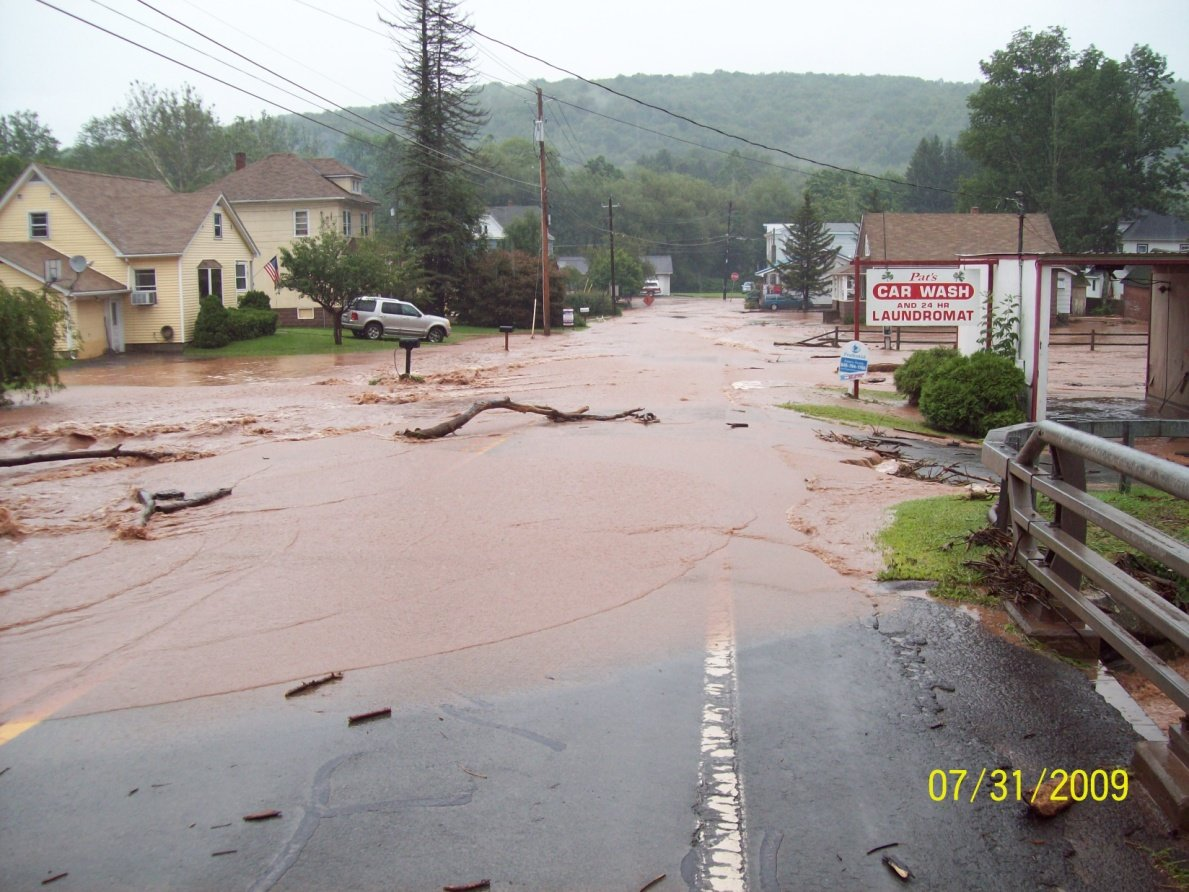 This stretch of State Route 52—shown here in July 2009—has flooded repeatedly over the years. Now the county is taking measures to mitigate future flooding at this location.