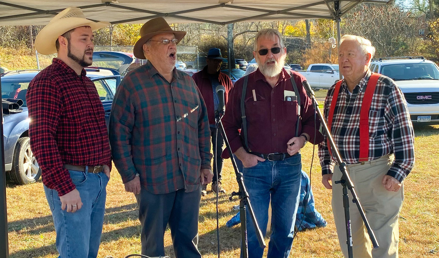 The Noteables Barbershop Quartet performs in four-part harmony for the crowds at the Narrowsburg Logging Days festival.