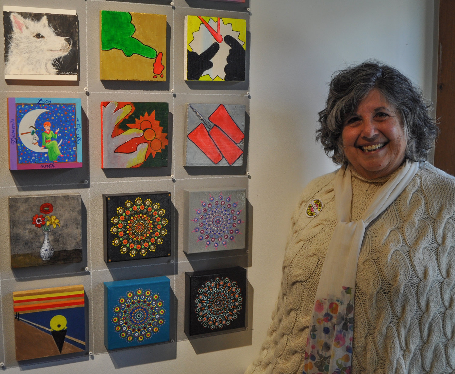 """I really just started painting three years ago, and this is my first time showing my work,"" artist Esther Klein admitted as I admired her six-by-six-inch intricately designed mandalas, now on exhibit at the DVAA."