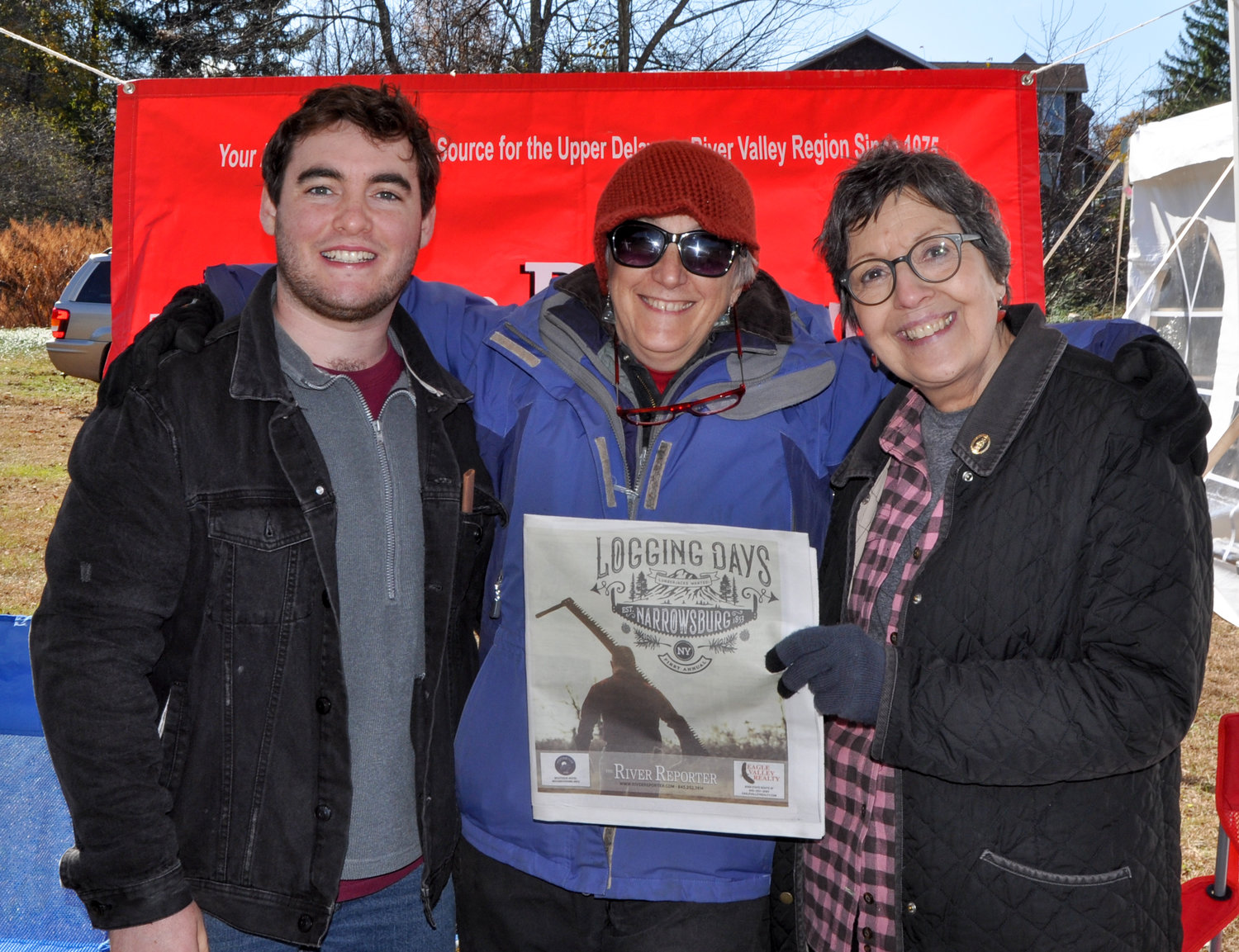 I like the folks I work with, which comes in handy when I run into co-workers like Owen Walsh, left, and Barbara Winfield, seen here flanking TRR publisher Laurie Stuart. All of us were out to celebrate the inaugural Narrowsburg Logging Days: a true highlight of 2019. Can't wait for next year!