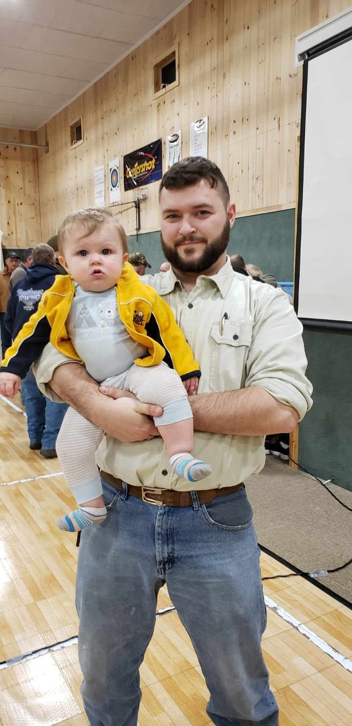 My son and I enjoying the annual Wild Game Dinner at Calkins Baptist Church.