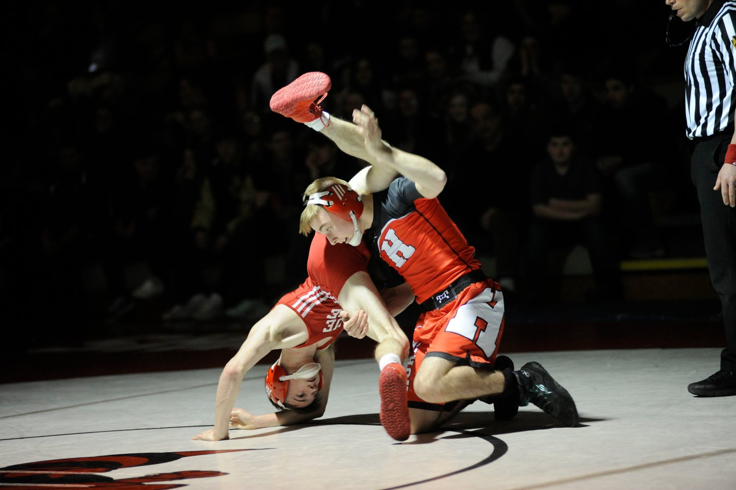 Honesdale's Branden McLaughlin pinned Blue Ridge's Kameron Sheffer at 0:23 in the 120-pound weight class.