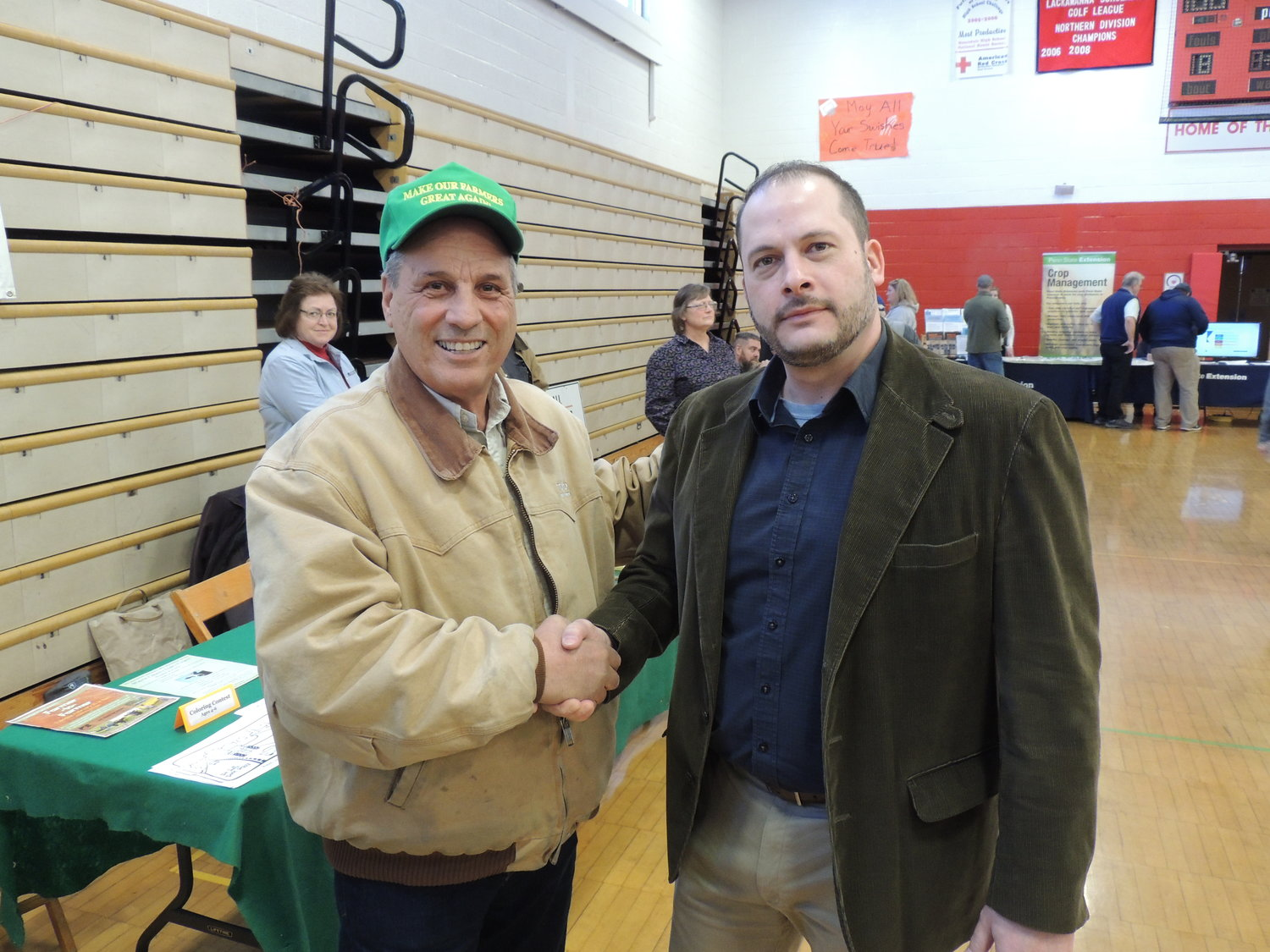 Mike Marsicano, left, shakes hands with Rep. Jonathan Fritz.