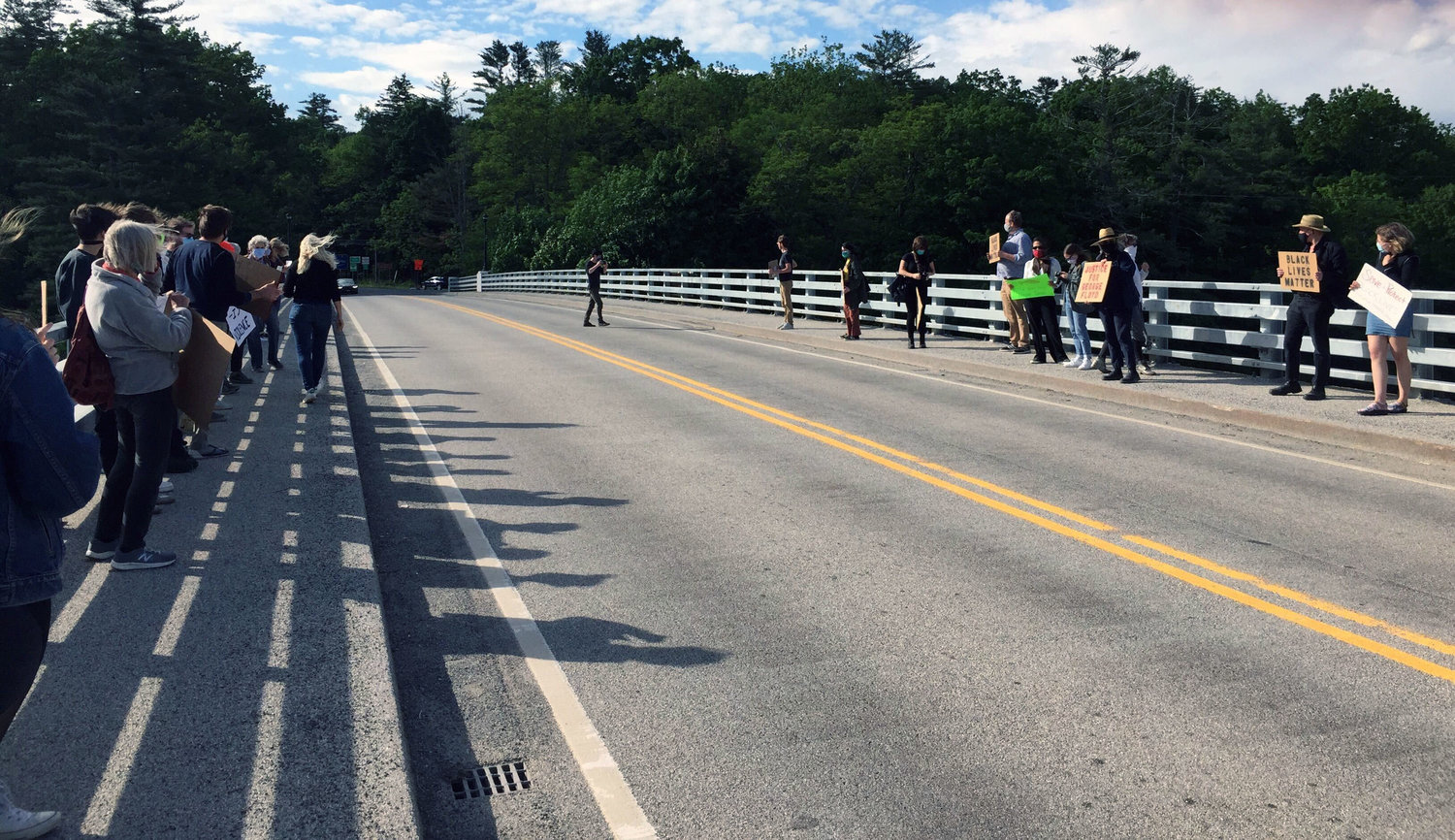 Over 50 people gathered on the Narrowsburg bridge at 5 pm to demonstrate concern and solidarity for people of color who experience oppression in their daily lives.