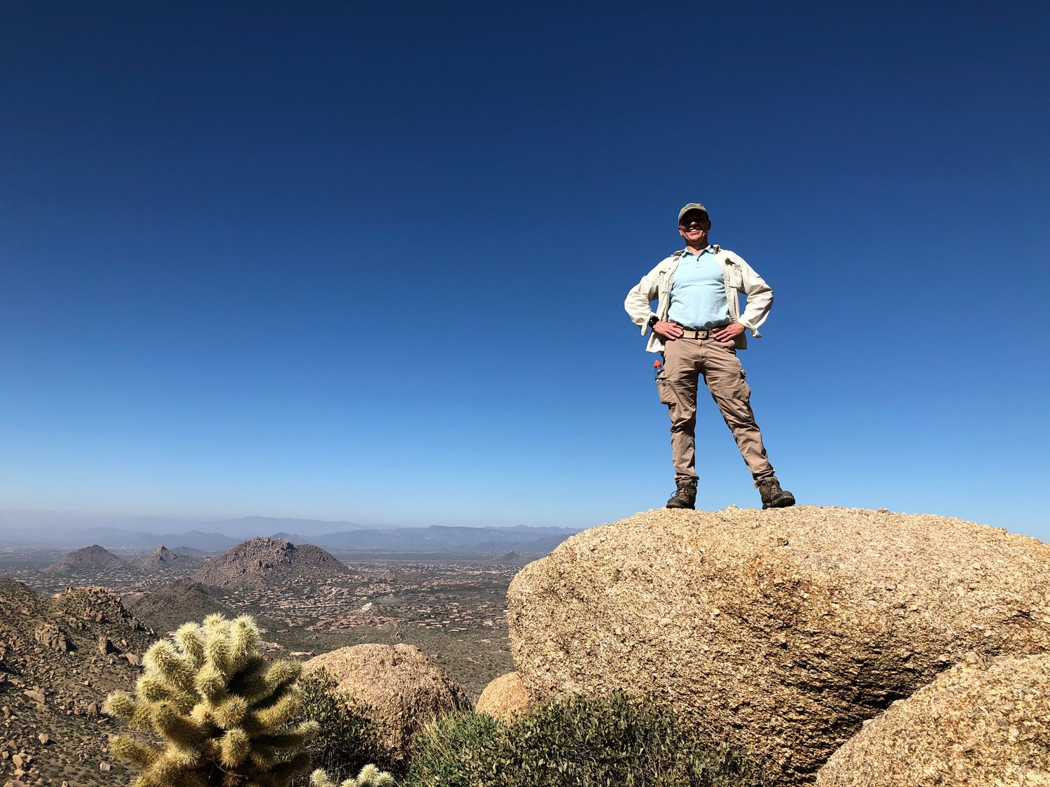 Bob hiking in Arizona in February 2020, a little more than half a year after his heart transplant.